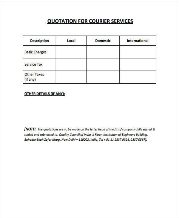 Formal Quotation Template   Free Word Pdf Format Download