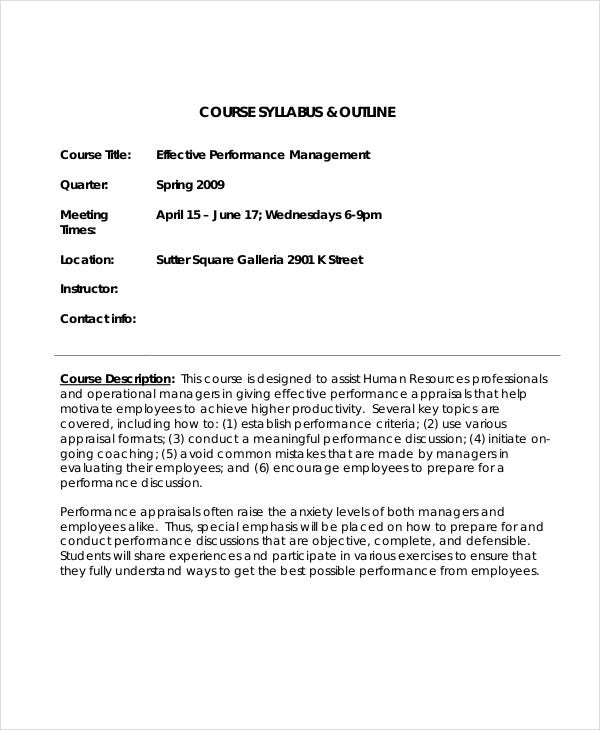 course syllabus outline1