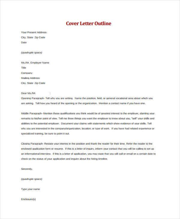 cover letter outline