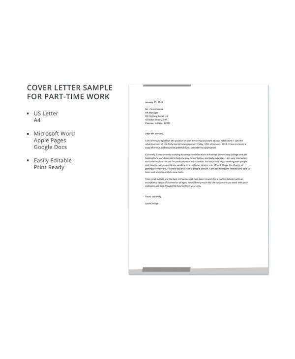sample cover letter for part time job