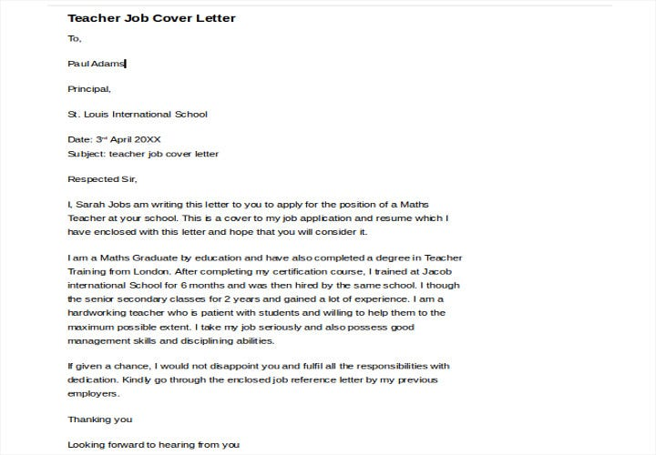 cover letter for teacher job