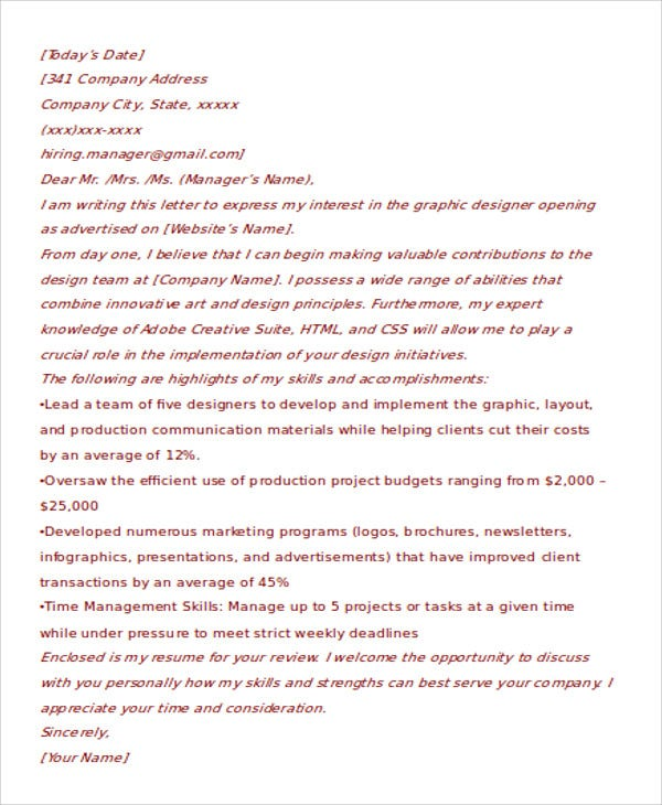 cover letter for creative designer - 100+ Cover Letter Examples