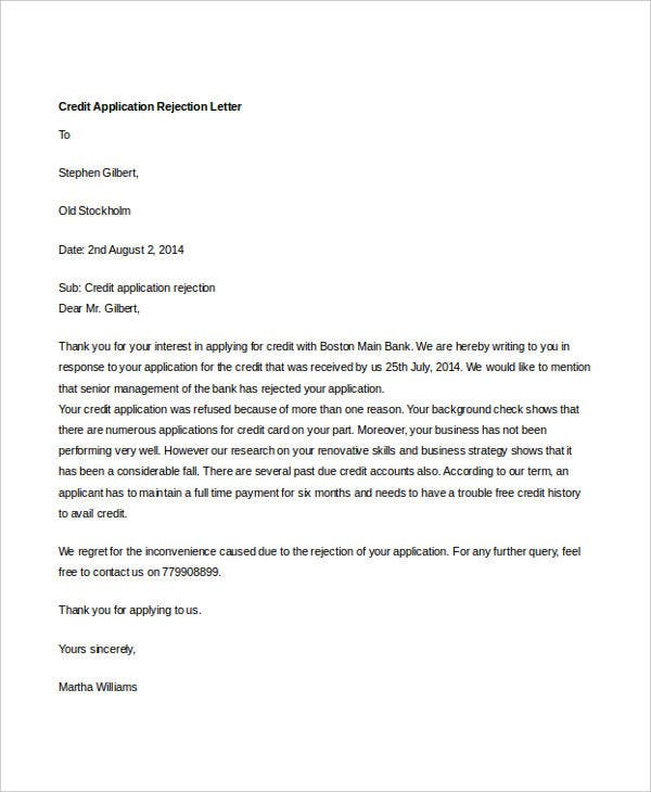 8 Credit Rejection Letter Free Sample Example Format Download