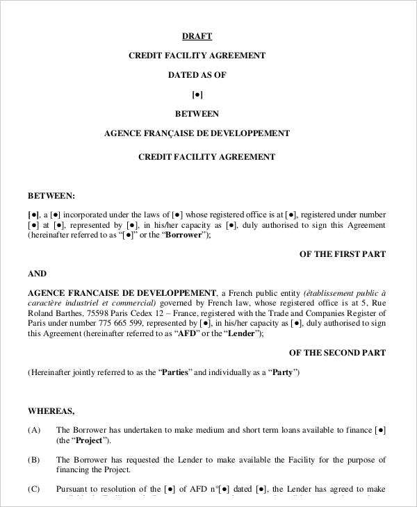 credit facility agreement template