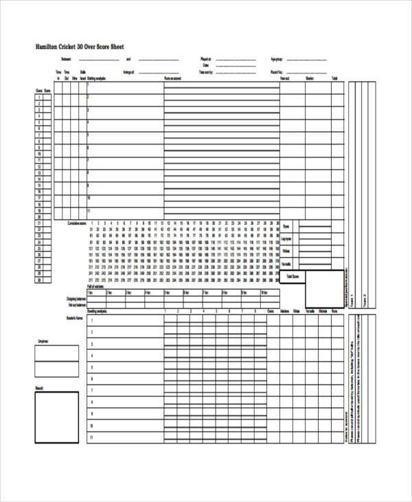 Score Sheet Templates  Free Samples Examples Format Download