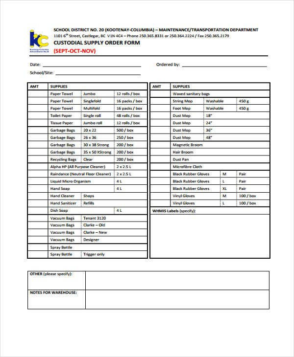 Supply Order Templates  Free Sample Example Format Download