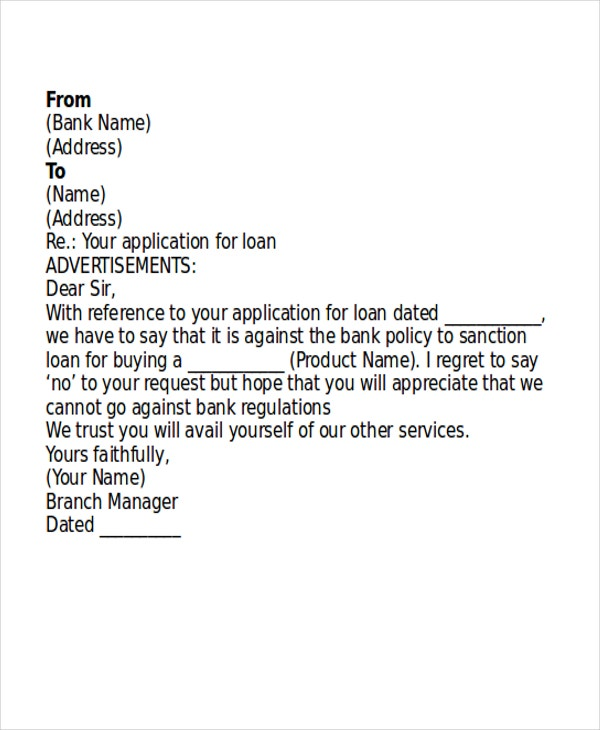 customer loan rejection letter