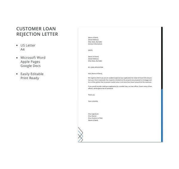 loan rejection letters 10 free sample example format download free premium templates. Black Bedroom Furniture Sets. Home Design Ideas