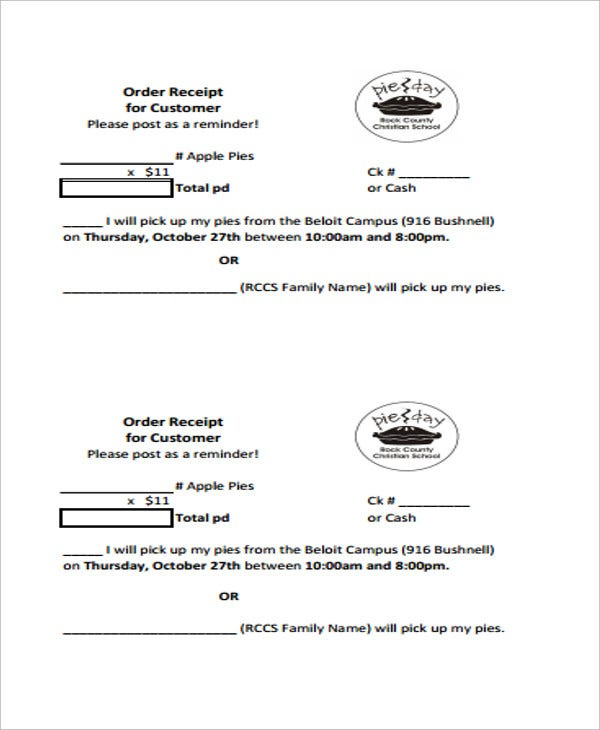 5 order receipt templates free sample example format download