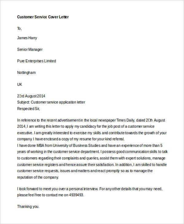 Customer Service Cover Letter. Details  Customer Service Cover Letter Template
