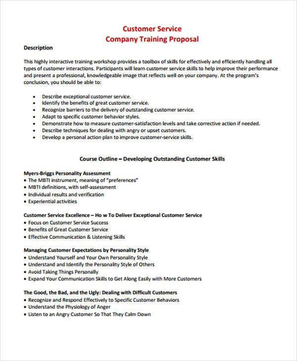 Customer Service Training Proposal  Proposals Templates