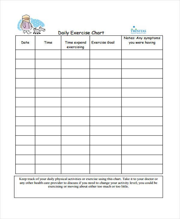 Exercise Chart Templates   Free Sample Example Format Download