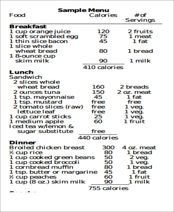 Diet Chart Templates  Lose Weight In Style  Free  Premium