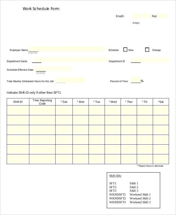 9 job schedule templates free sample example format download