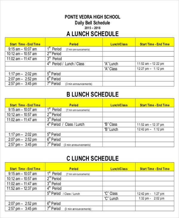 8 lunch schedule templates sample examples free for Lunch roster template