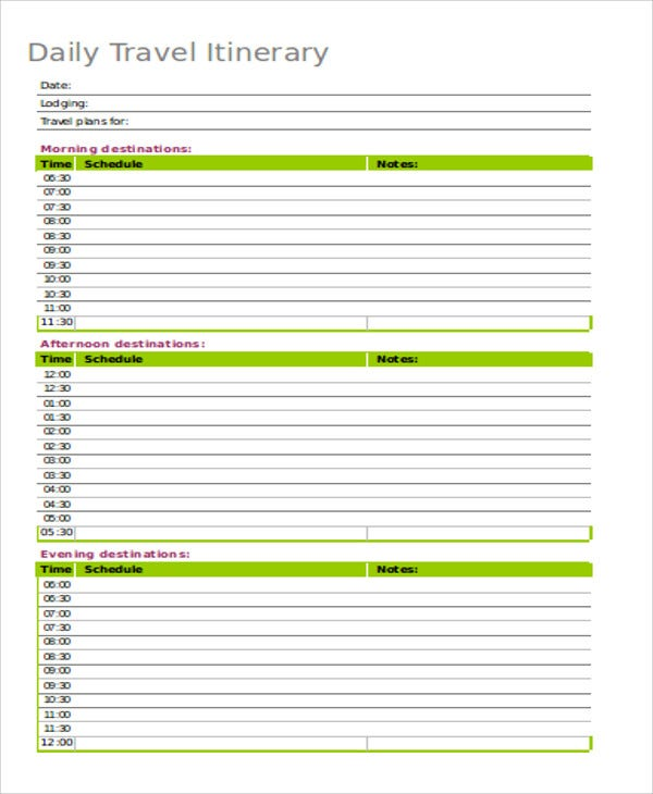 Daily Itinerary Templates  Sample Example  Free  Premium
