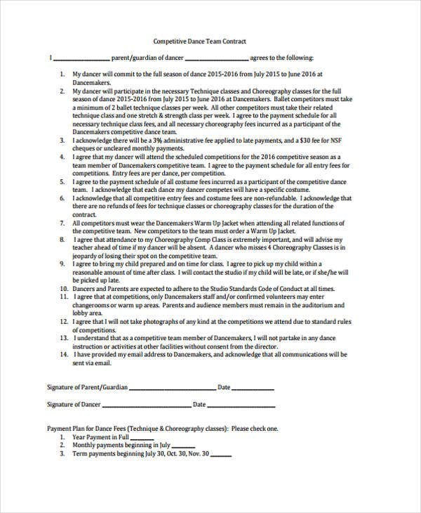42 sample contract templates free premium templates for Dance contract template