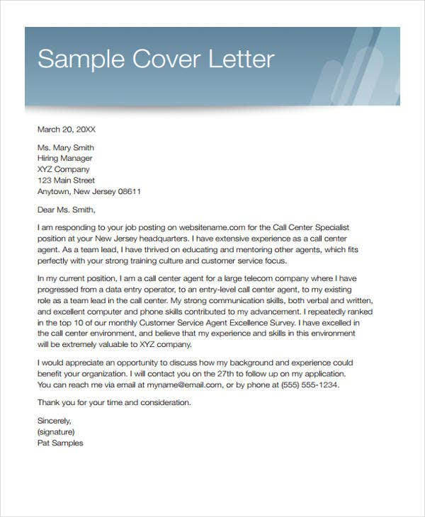 Customer Service Cover Letters -10+ Free Word, PDF Format ...