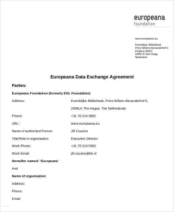 Exchange Agreement Templates  Free Word Pdf Format Download