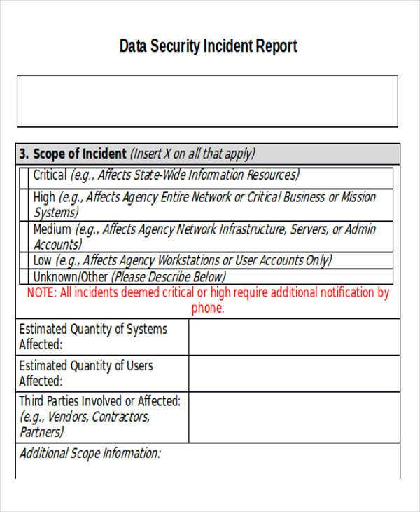 Data Security Incident Report