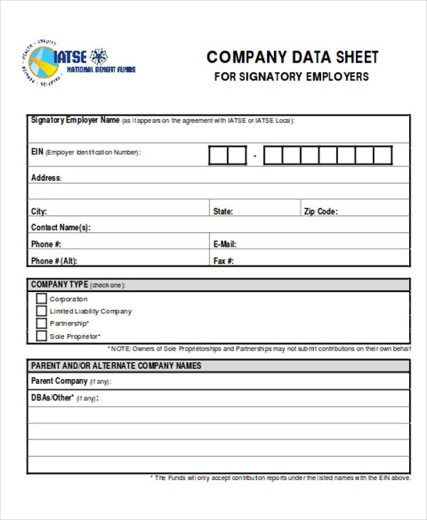 17  company sheet templates