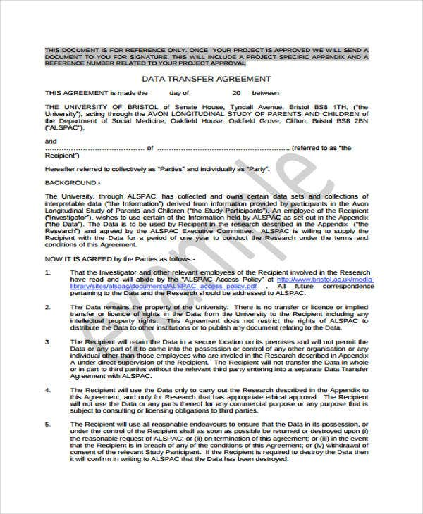 9 transfer agreement templates free sample example for Transfer pricing agreement template