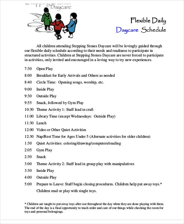 daycare schedule sample