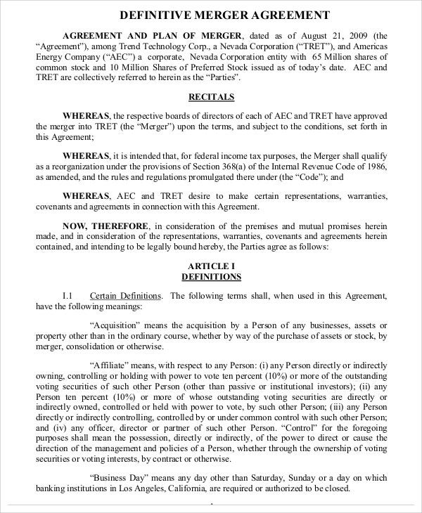 Merger agreement templates 10 free word pdf format for Merger agreement template