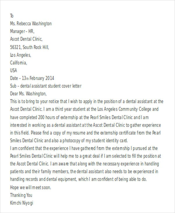 dental assistant - Student Cover Letter
