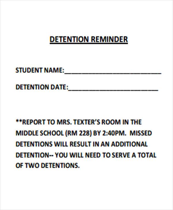 8 detention notice templates