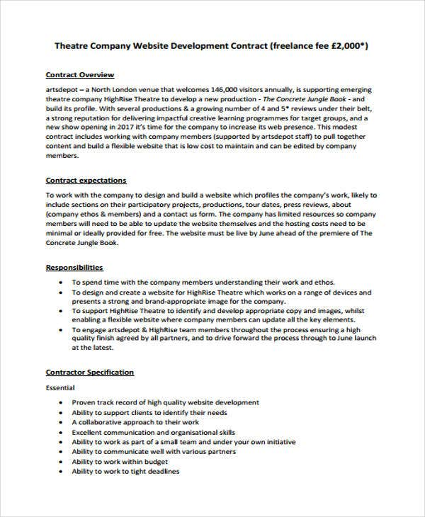 Development Contract Templates   Free Pdf Format Download