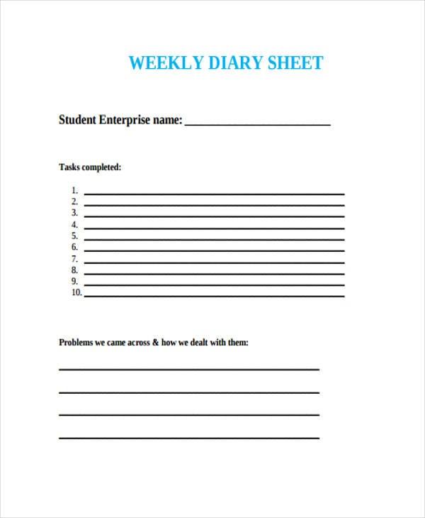 diary sheet