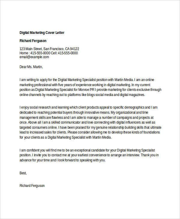 marketing cover letters digital marketing