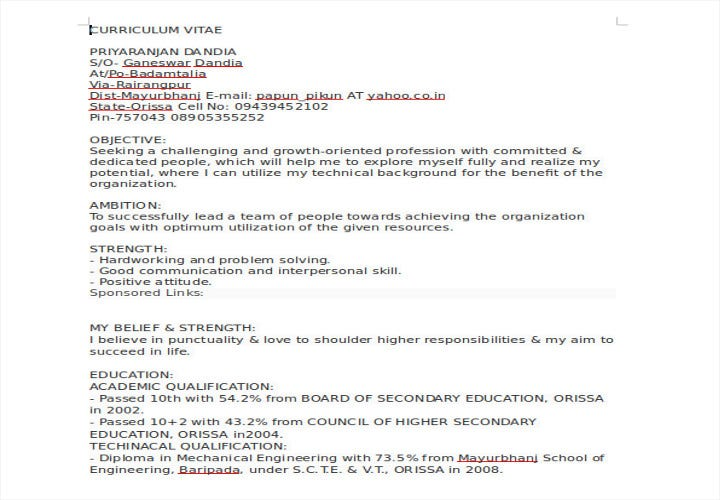 diploma fresher resume