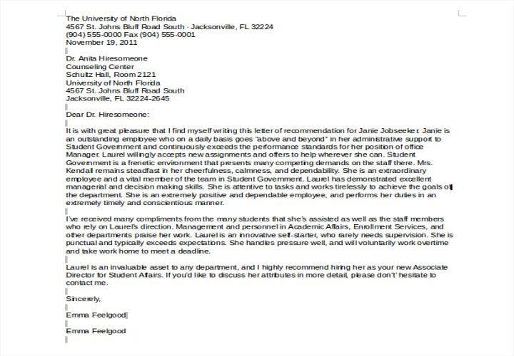 director recommendation letter