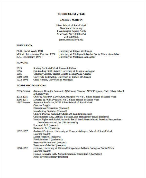 Director Resume Template. Socialwork.nyu.edu  Social Work Resume Templates