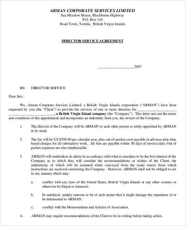 director services agreement