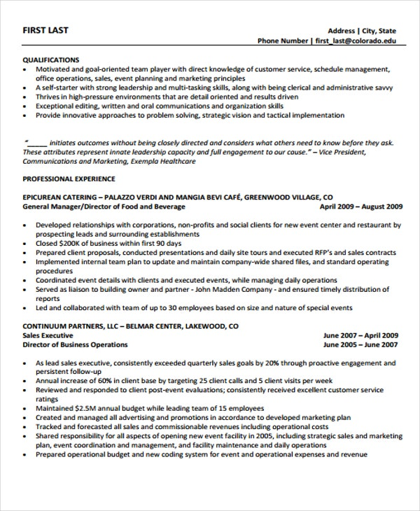 8 Director Of Operations Resume Templates Pdf Doc