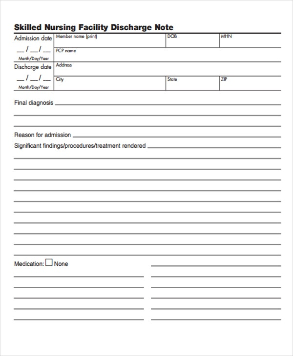 Nursing Note Templates  Free Samples Examples Format Download