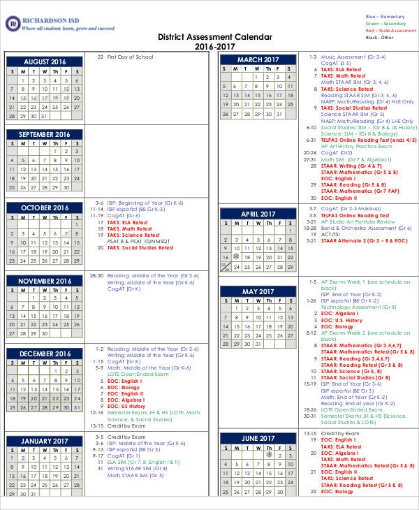 Assessment Calendar Templates   Free Word Pdf Format Download