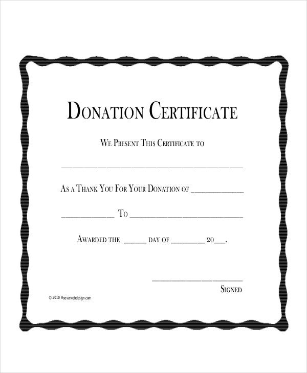 donation thank you certificate