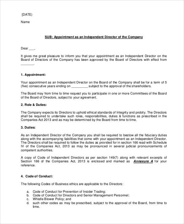 draft appointment letters 7 free sample example format download