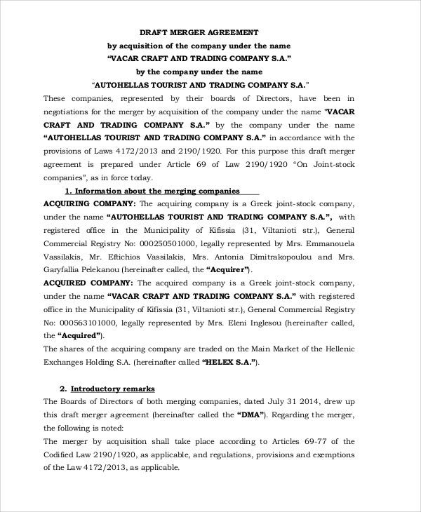 draft merger agreement1