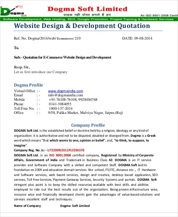 web development quote template