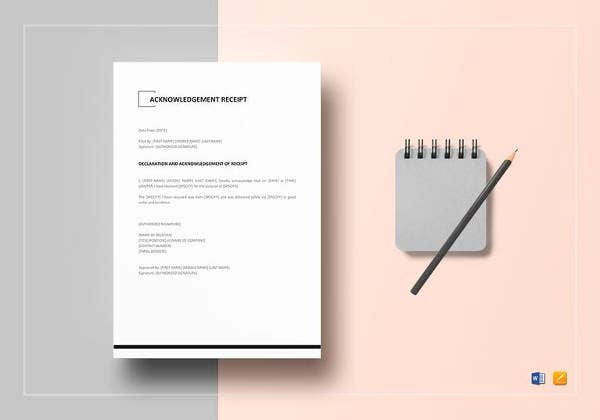 editable acknowledgement receipt template