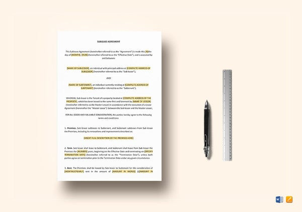editable sublease agreement template