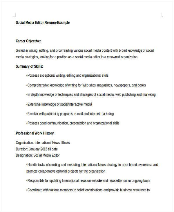 Social Media Editor Resume  Social Media Resume Sample