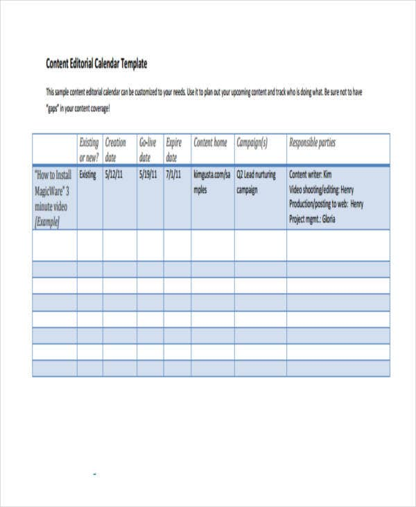 Editorial Calendar Templates  Free Word Pdf Format Download