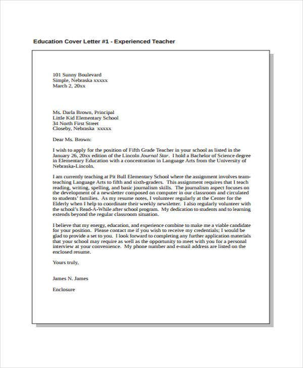cover letters for elementary education teachers Betsy weigle september 17, 2004 ms valerie hoppman trail elementary school 1234 jefferson ave anytown, wa 12345 re: 2nd grade teaching position.
