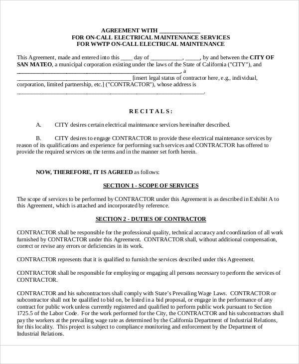 Maintenance Agreement Templates 8 Free Word Pdf Format Download